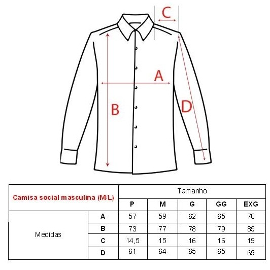 688cb617db Camisa Social Masculina Manga Longa - Uniformes People