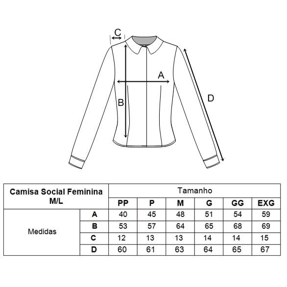 0c573c75ef Camisa Social Feminina Manga Longa - Uniformes People
