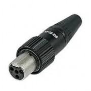 Conector Rean Tini QG Para Shure 4 pinos Com Trava - RT4FCT-B
