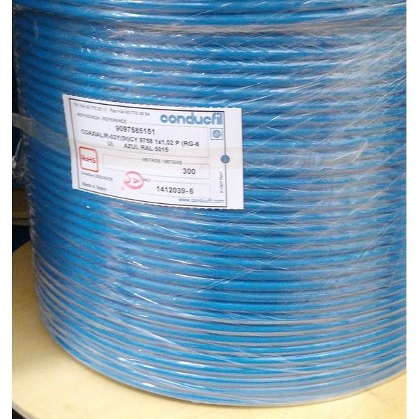 Cabo Coaxial Conducfil RG6U 1x0.02 - Azul - Blue Cable 9758a