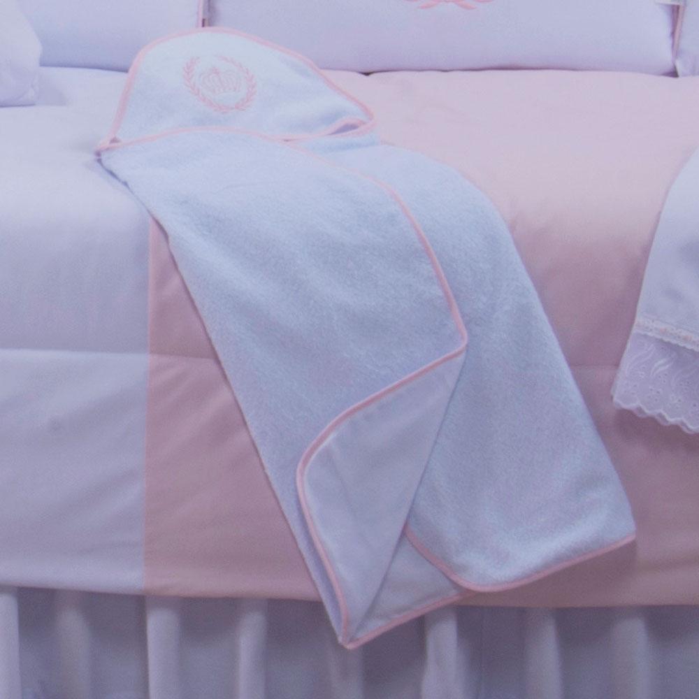 Toalha com Capuz Bordado - Realeza Rosa