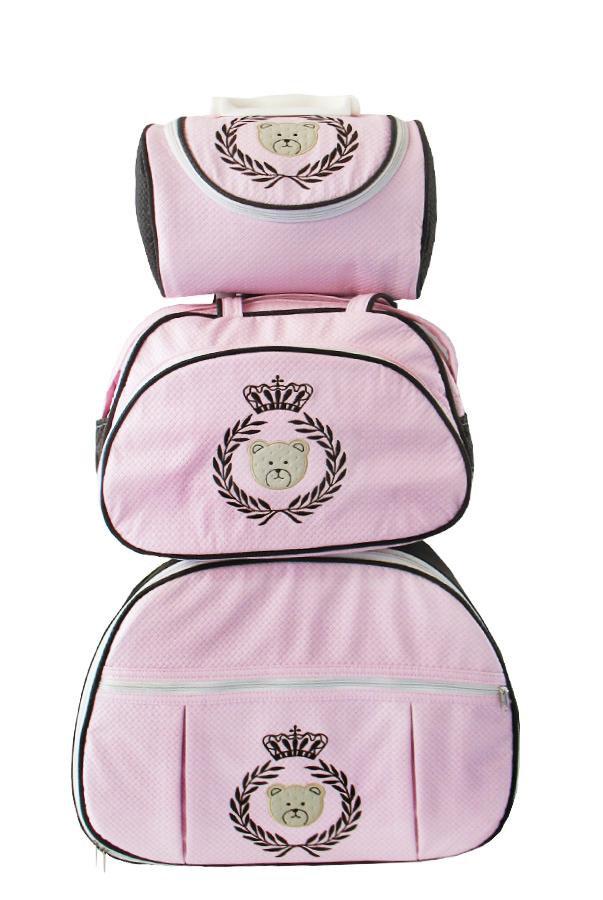 Kit de Bolsa Maternidade Ursa Coroa e Ramo Rosa com Marrom nas Laterais 3 peças + Brinde