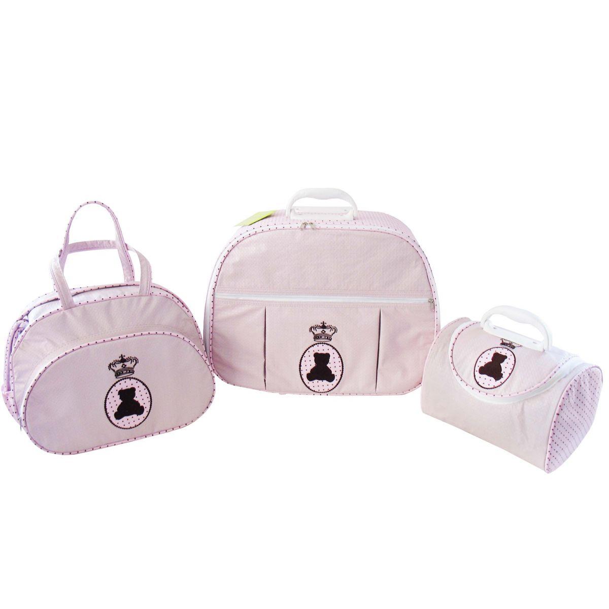 Kit de Bolsa Maternidade Ursa na Medalha Rosa com Poá  3 peças + Brinde