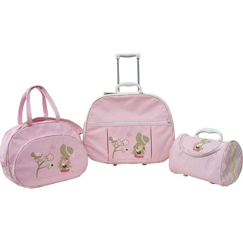 Kit de Bolsa Maternidade Camponesa Rosa 3 peças + Brinde