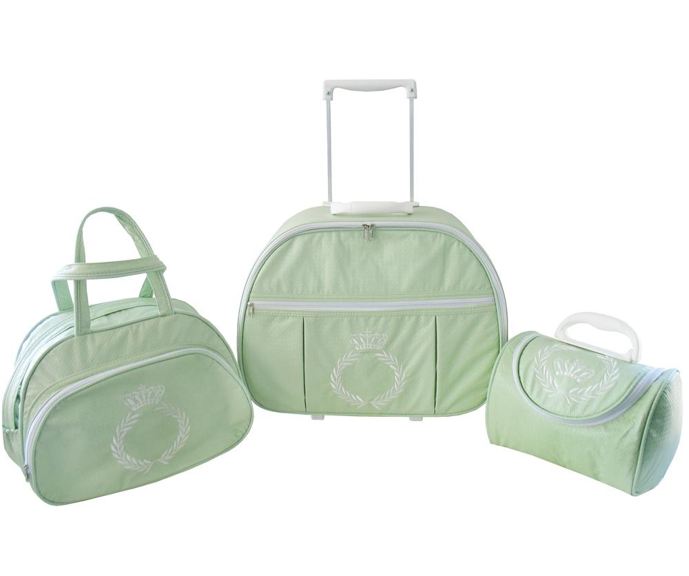 Kit de Bolsa Maternidade Coroa e Ramo Verde 3 peças