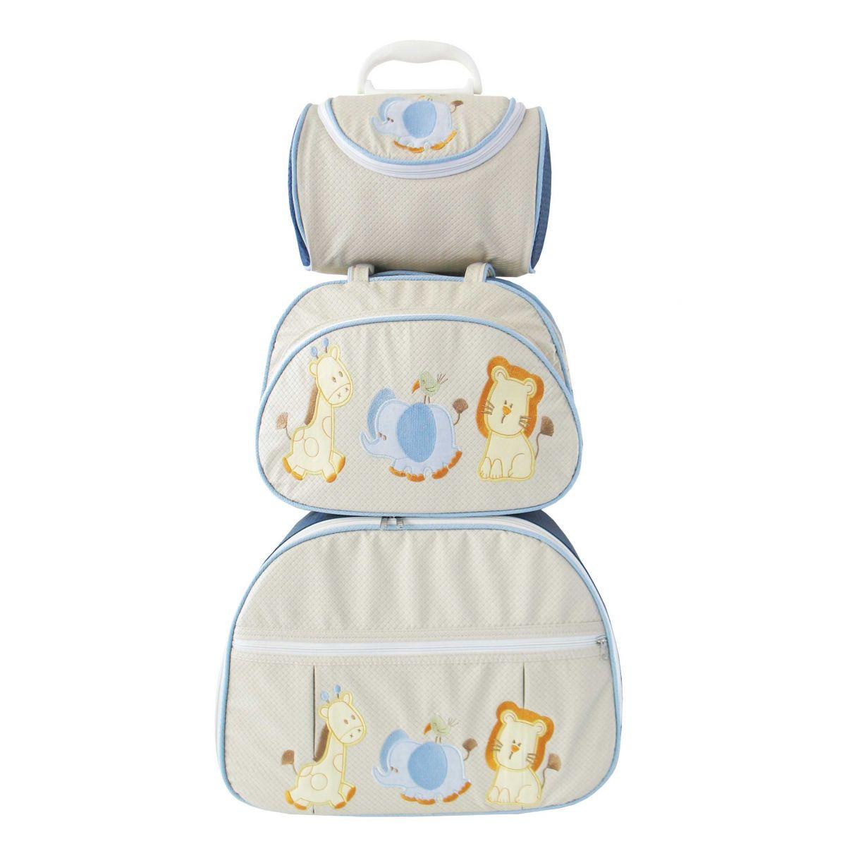 Kit de Bolsa Maternidade Safari Baby 3 peças + Brinde
