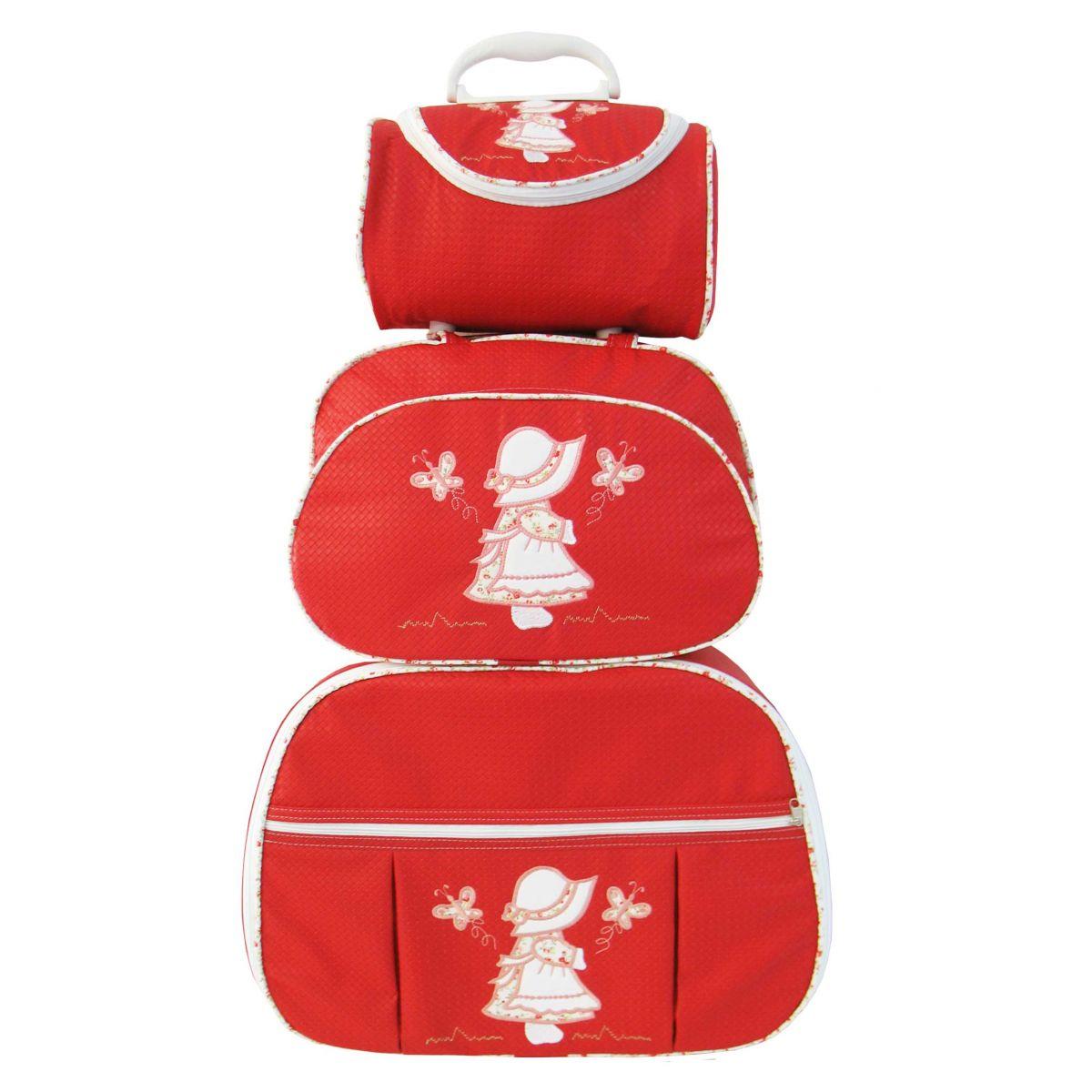 Kit de Bolsa Maternidade Camponesa Vermelha 3 peças + Brinde
