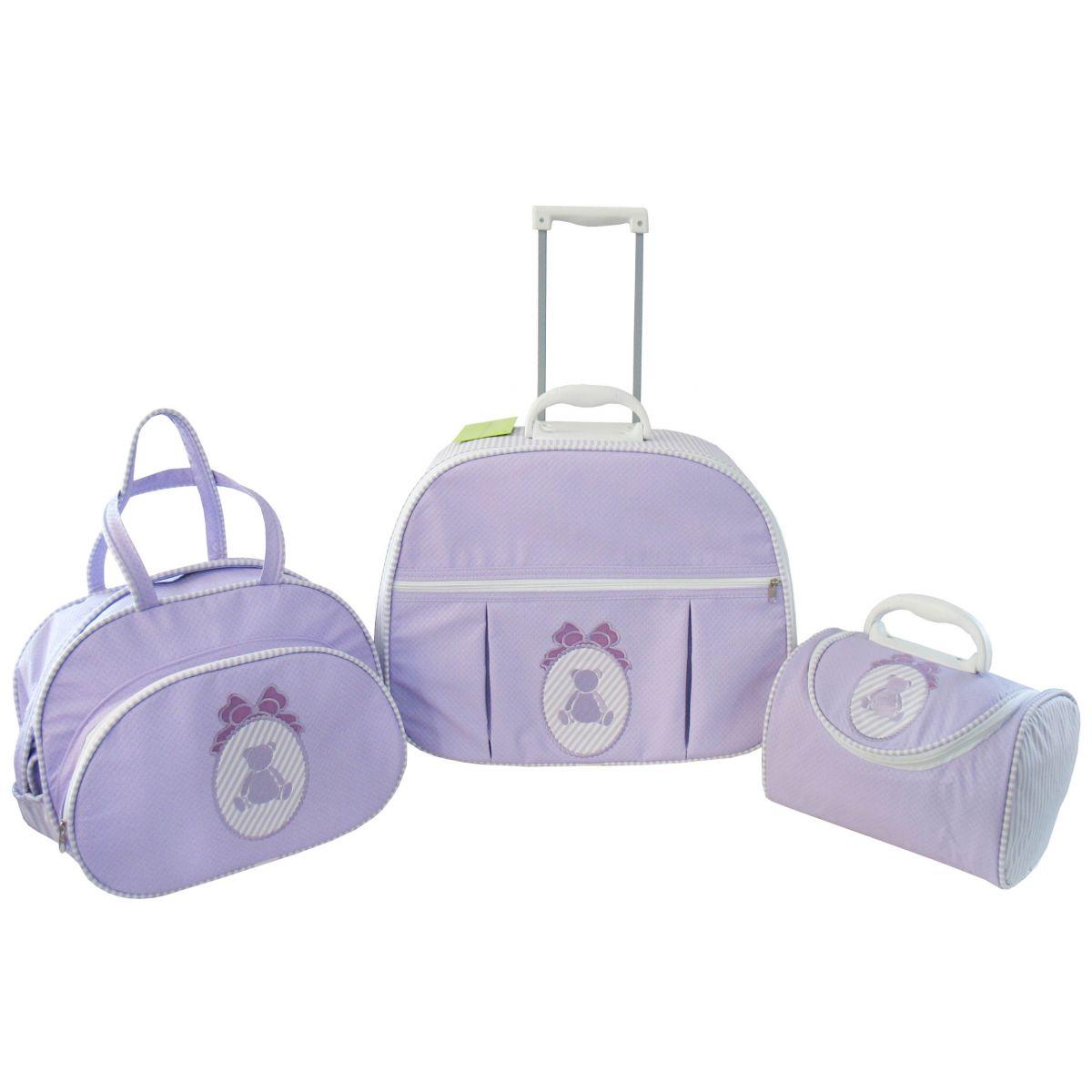 Kit de Bolsa Maternidade Ursa Laço Lilás com Listras nas Laterais 3 peças + Brinde