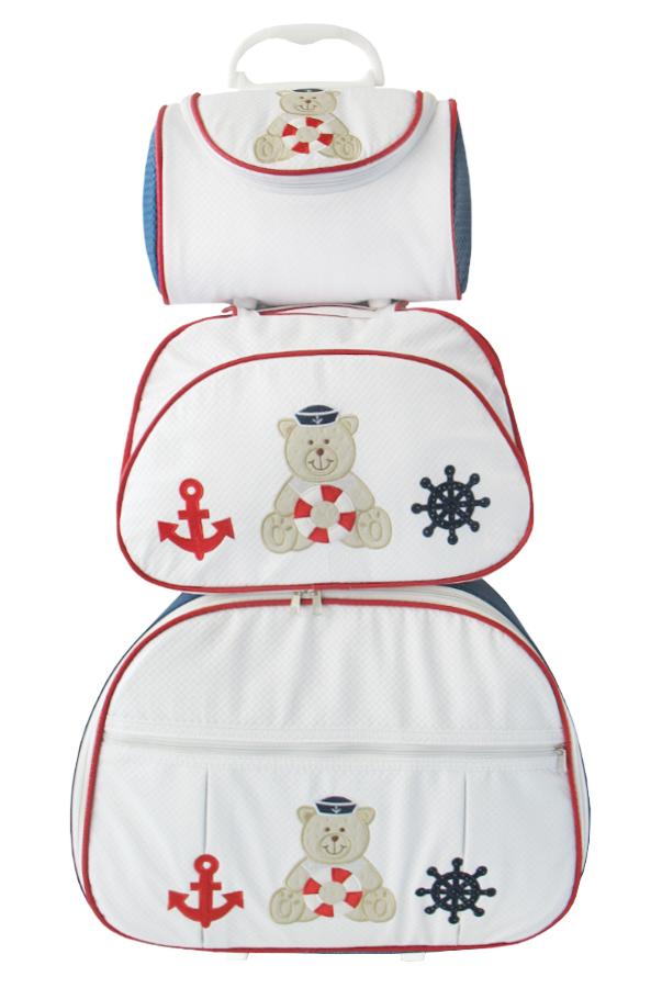 Kit de Bolsa Maternidade Ursão Marinheiro Branco com Marinho 3 peças + Brinde