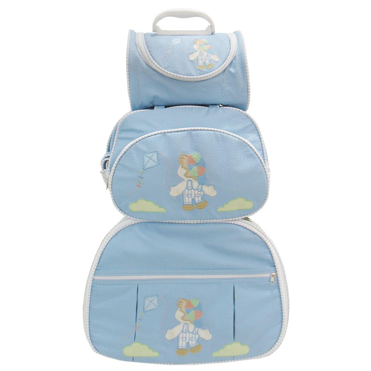 Kit de Bolsa Maternidade Menino Pipa Azul com Listras nas Laterais 3 peças + Brinde