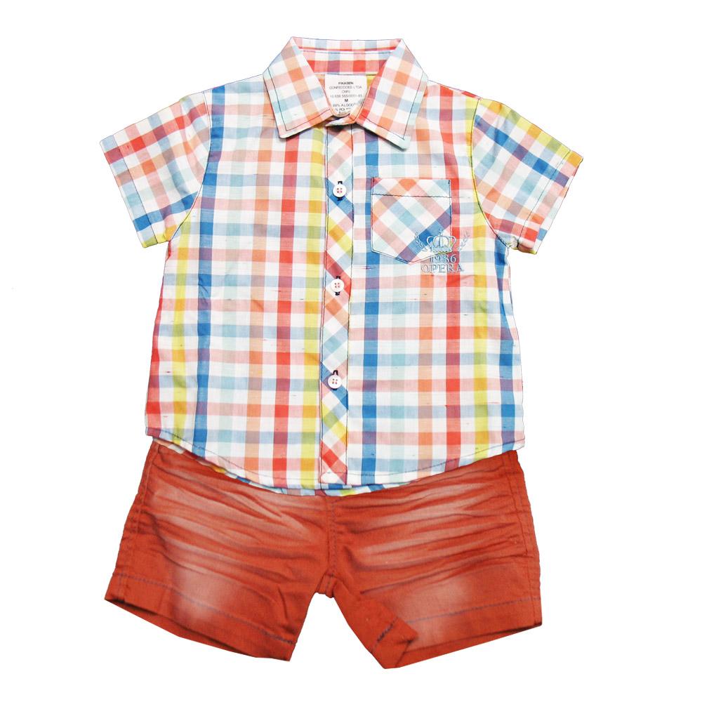 Conjunto Ópera Kids Collor com Camisa Xadres - 2 peças