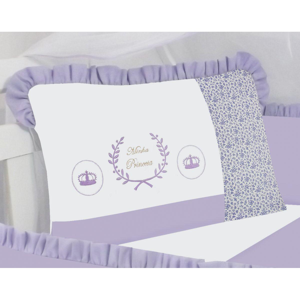 Kit de Berço Minha Princesa Lilás  09 peças 100% Algodão Padrão Americano