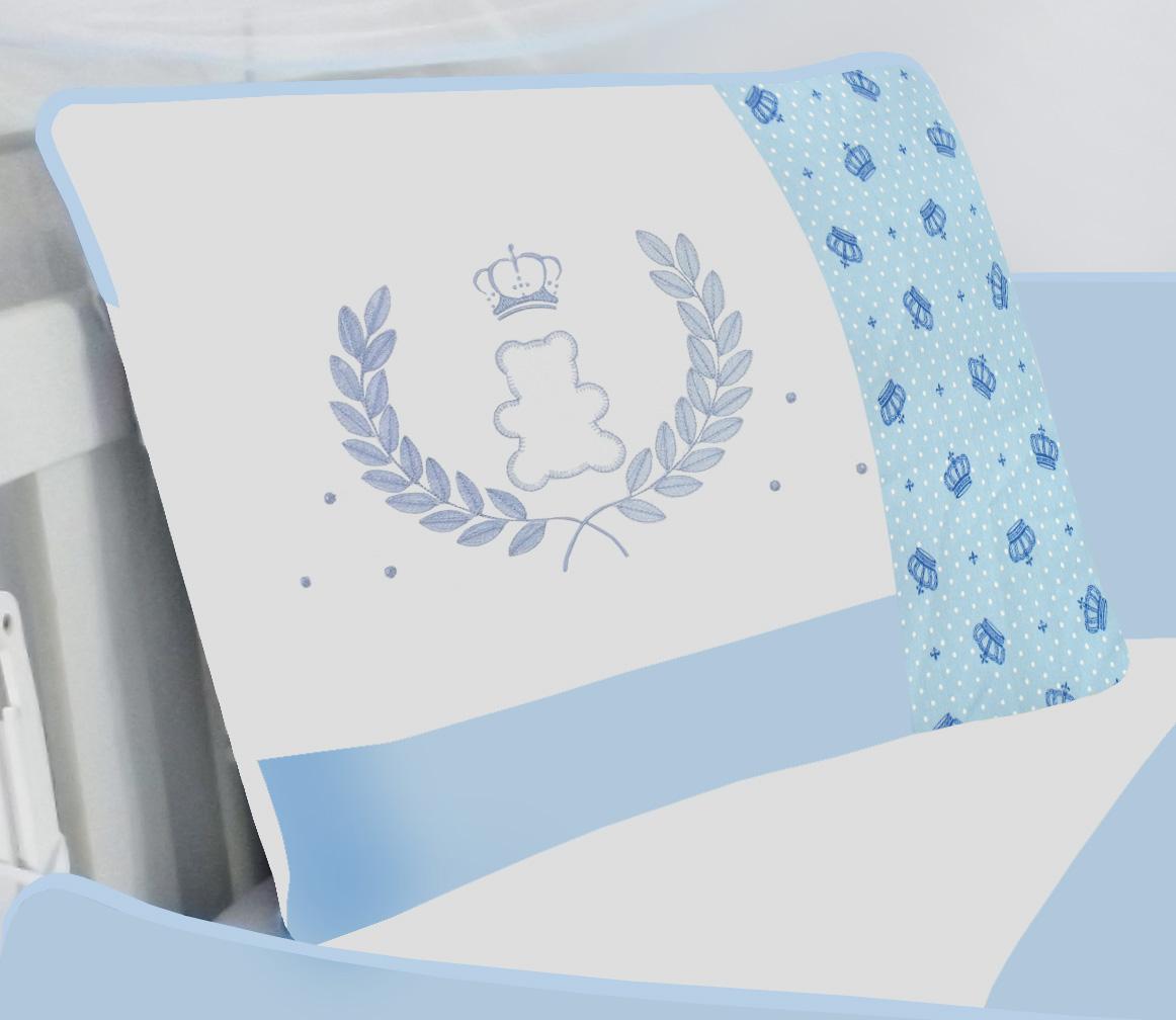 Kit de Berço Urso Coroa Azul  09 peças 100% Algodão Padrão Americano