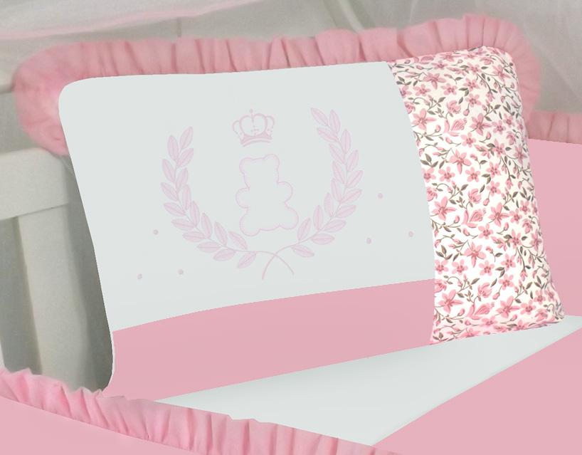 Kit de Berço Ursa Coroa Rosa 09 peças 100% Algodão Padrão Americano