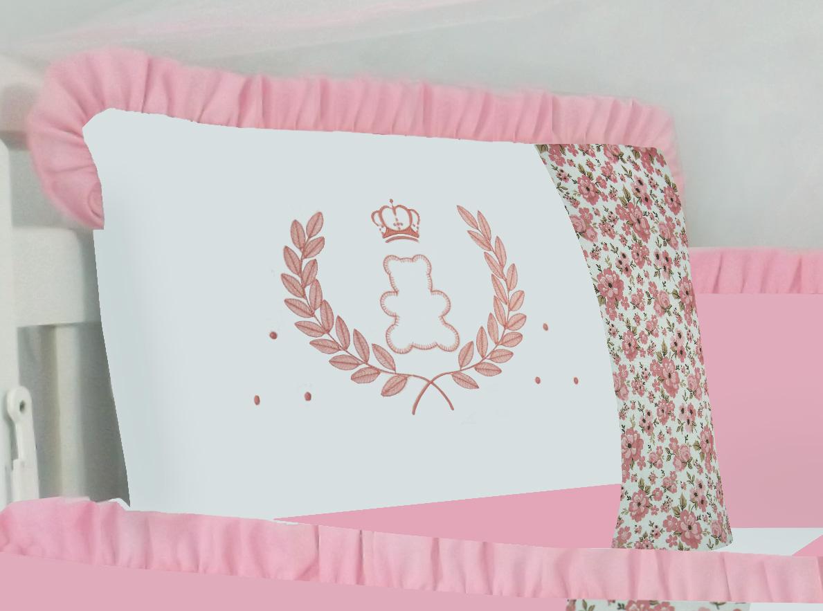 Kit de Berço Ursa Coroa Rosê 09 peças 100% Algodão Padrão Americano