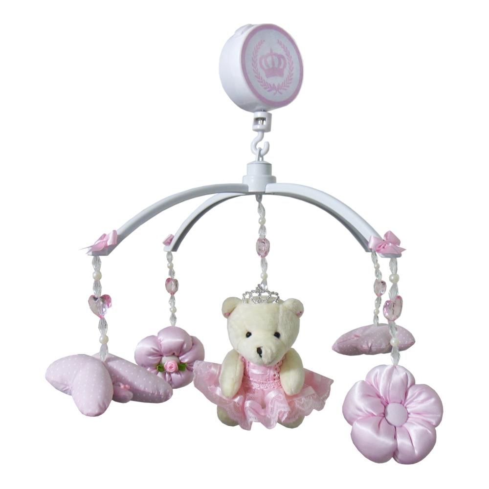 Móbile Ursa Princesa Rosa com Poá