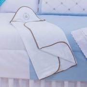 Toalha com Capuz Bordado - Thed Azul
