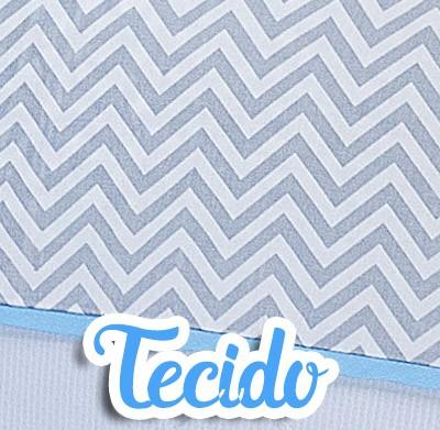 Kit Bicama 06 Peças 100% Chevron Azul