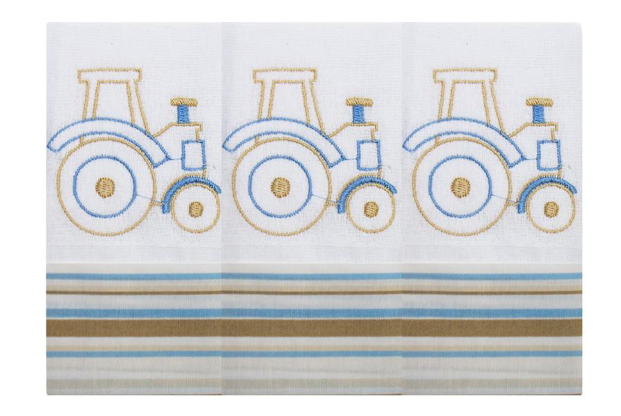 Fralda de Boca  03 Peças - Transporte (Trator)