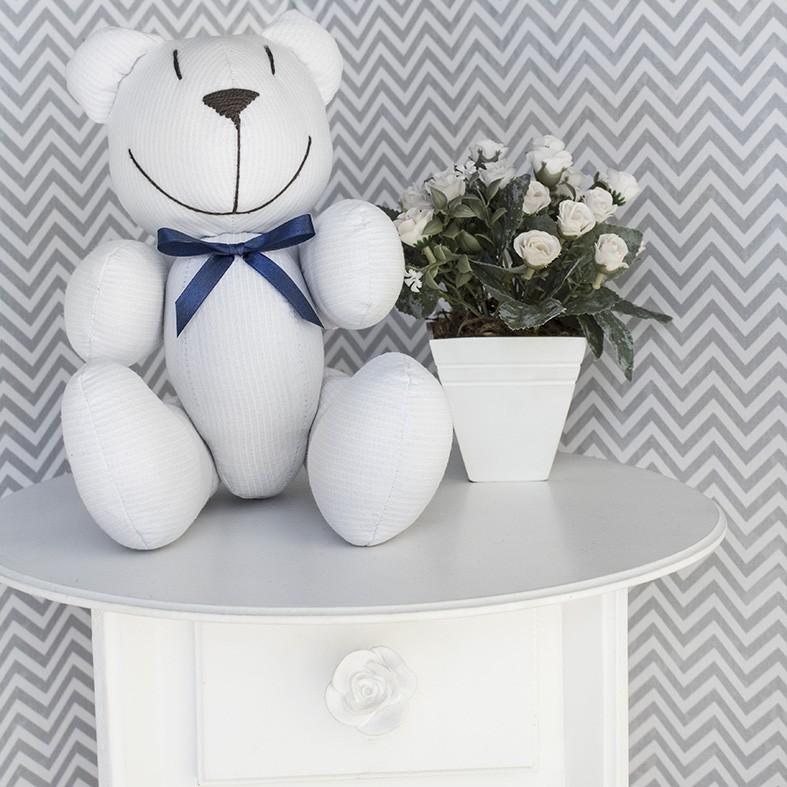 Ursinho  - Piquet Branco com Laço Marinho