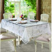 Toalha de Renda Retangular 8 lugares Rosas Branca Lepper