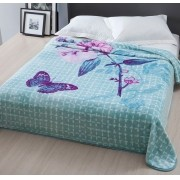 Cobertor Microfibra Casal Raschel Home Design Wendy Azul Corttex
