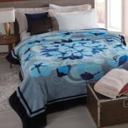 Cobertor Microfibra Casal Dyuri Cinta Katmandu Azul Jolitex