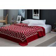Cobertor Microfibra Casal Home Design Cinta Saxon Vermelho Corttex