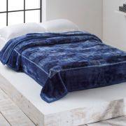 Cobertor Microfibra Casal Home Design na Cinta Triton Marinho Corttex