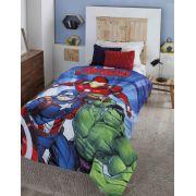 Cobertor Microfibra Solteiro Juvenil Digital HD Marvel Avengers com Sherpa Jolitex