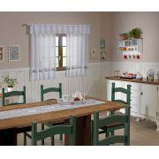 Cortina de Renda com Bandô para Cozinha Valência Branca Interlar
