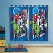 Cortina Infantil com ilhós Estampada Avengers 2 peças Lepper