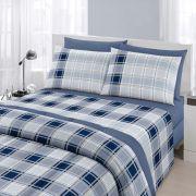 Jogo de Cama Casal Queen Size Royal Plus 100% algodão 4 peças Matias Azul Santista