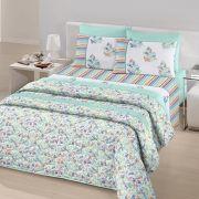 Jogo de Cama Casal Royal Plus 100% algodão 4 peças Herbal Azul Piscina Santista