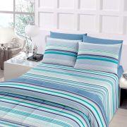 Jogo de Cama Casal Royal Plus 100% algodão 4 peças Onam Azul antista