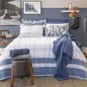 Jogo de Cama Queen Size Home Design 100% algodão 4 peças Graphic Azul Santista