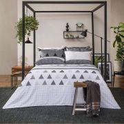 Jogo de Cama Queen Size Home Design 100% algodão 4 peças Memphis Cinza Santista
