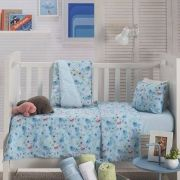 Jogo de Lençol de Berço Linha Baby 100% algodão 3 Peças Glub Azul Piscina Santista