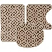 Jogo de tapetes para banheiro Loop Trikala Marrom 3 peças Corttex