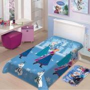 Manta Microfibra Soft Solteiro Disney Frozen Neve Azul Jolitex