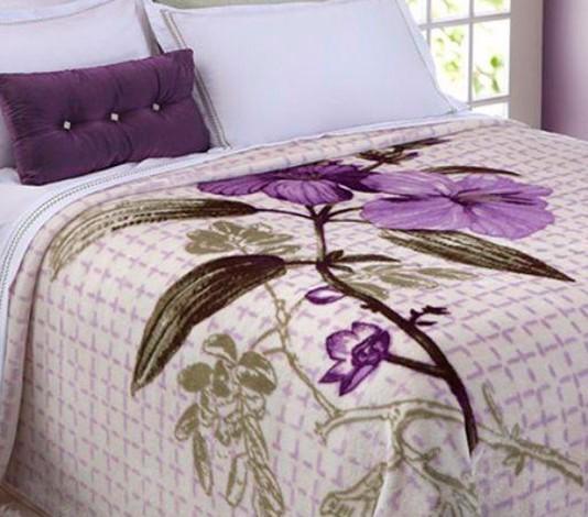 Cobertor Microfibra Casal King Size Raschel Home Design Wendy Lilás Corttex