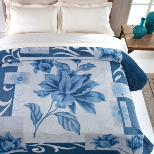 Cobertor Microfibra Casal King Size Kyor Plus Malbec Azul Jolitex