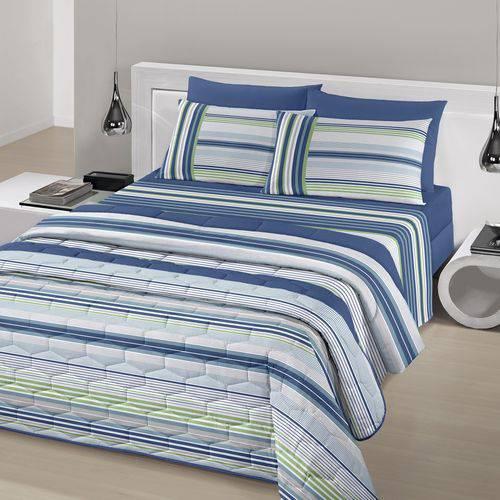 f41b16750c Jogo de Cama Casal Queen Size Royal Plus 100% algodão 4 peças Fábio Azul  Santista ...