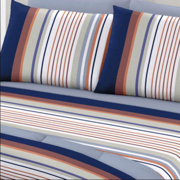 Jogo de Cama Casal Queen Size Royal Plus 100% algodão 4 peças Lionel Azul Santista