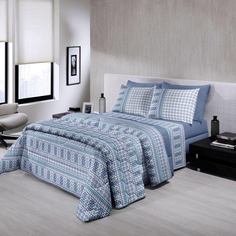 95c2a578b6 Jogo de Cama Casal Queen Size Royal Plus 100% algodão 4 peças Otávio Azul  Santista