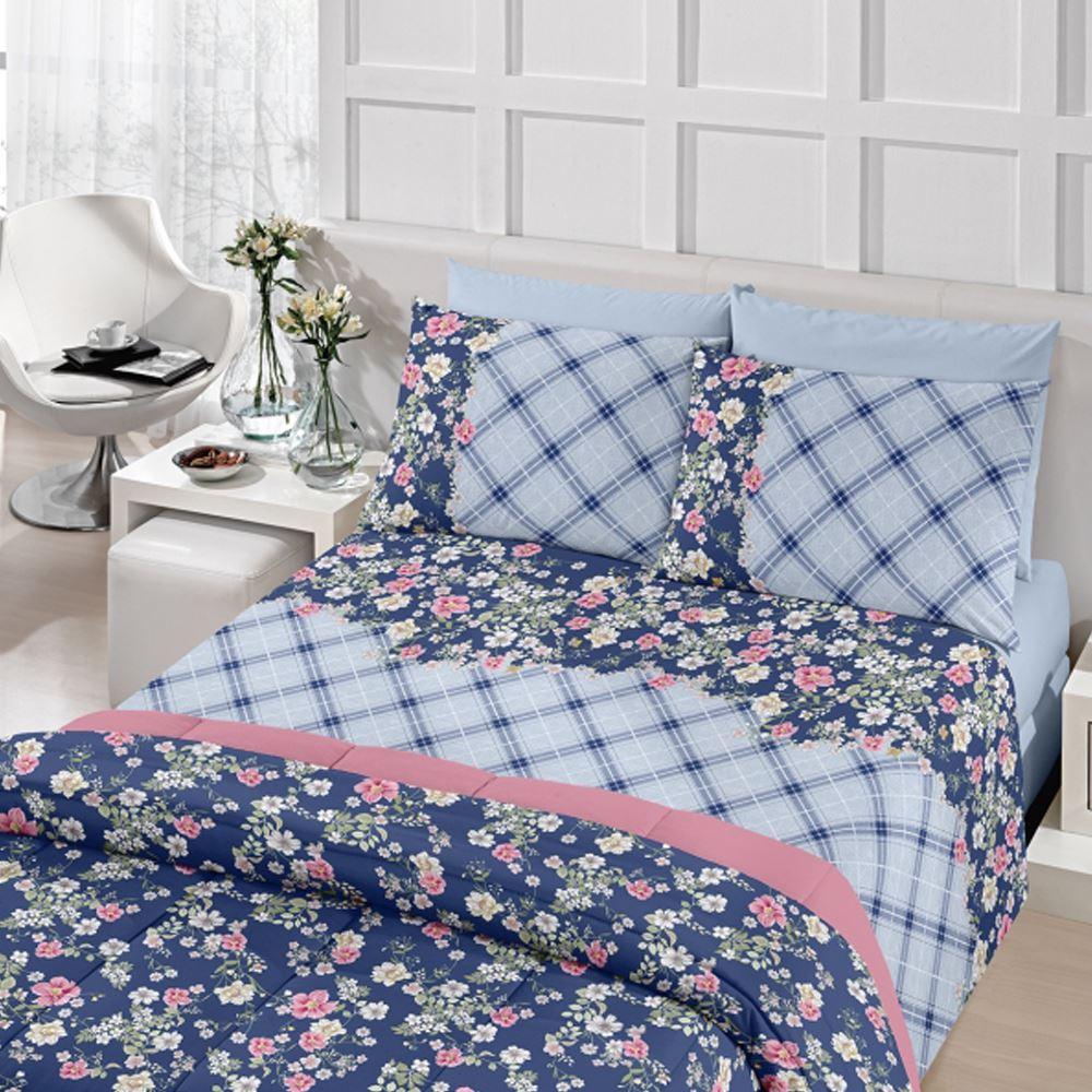 153a52e3a Jogo de Cama Casal Royal Plus 100% algodão 4 peças Rita Azul Santista - KM  ...