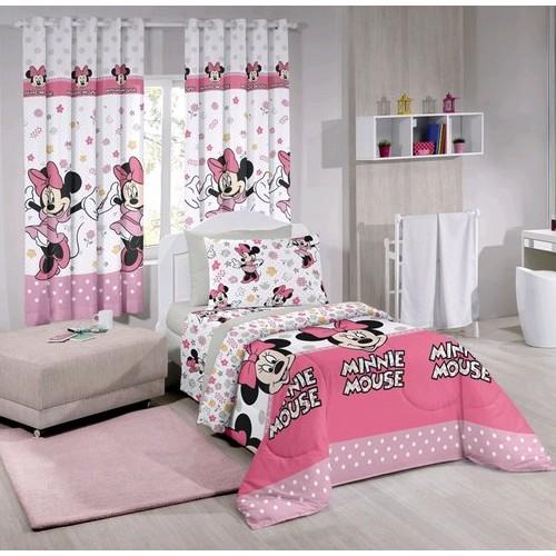 f5f33c1e3f Jogo De Cama Solteiro Disney 50% algodão 50% Poliéster Minnie Happy Rosa  Santista ...