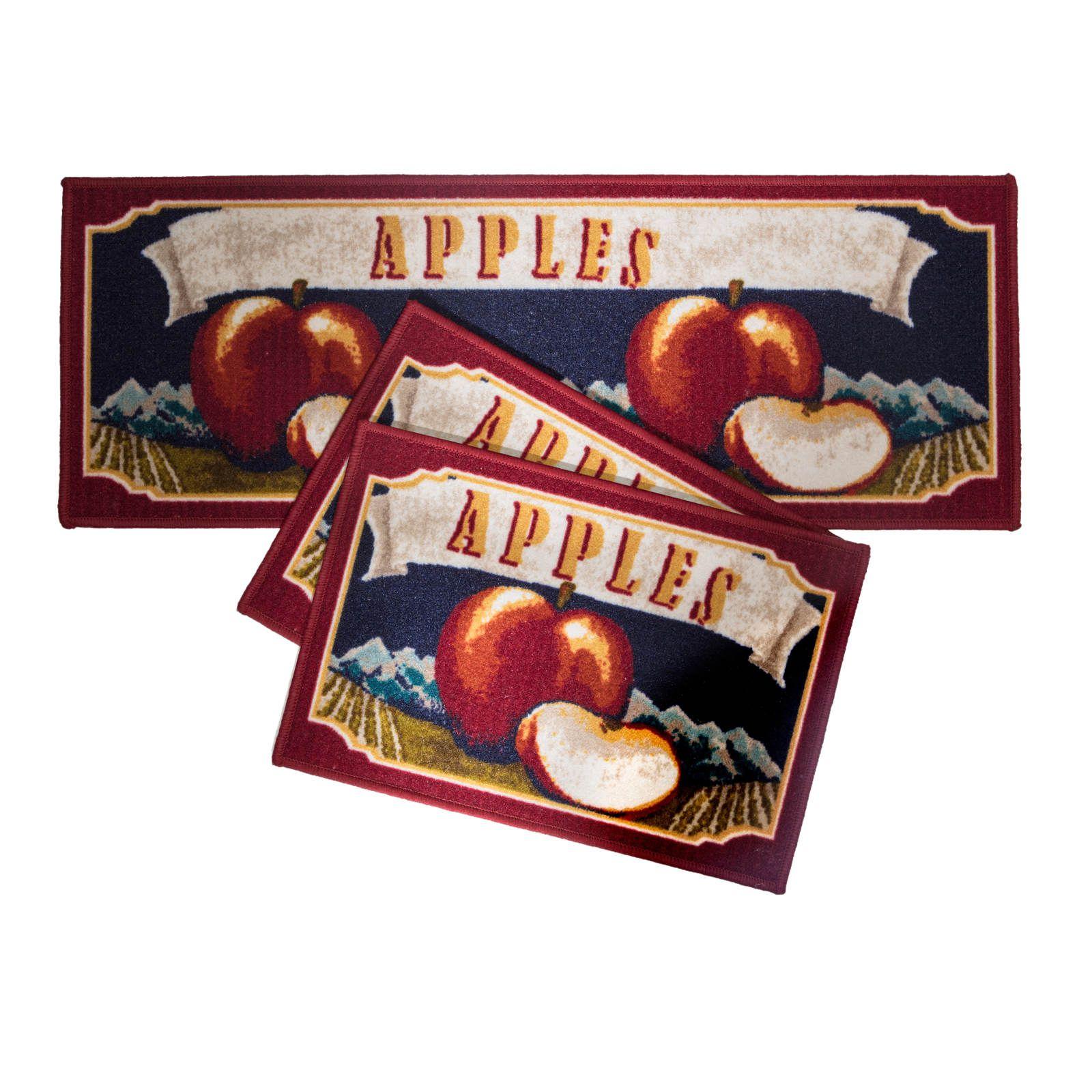 Jogo de tapetes para Cozinha Confeitare Attuale 3 peças Apple Flag Corttex