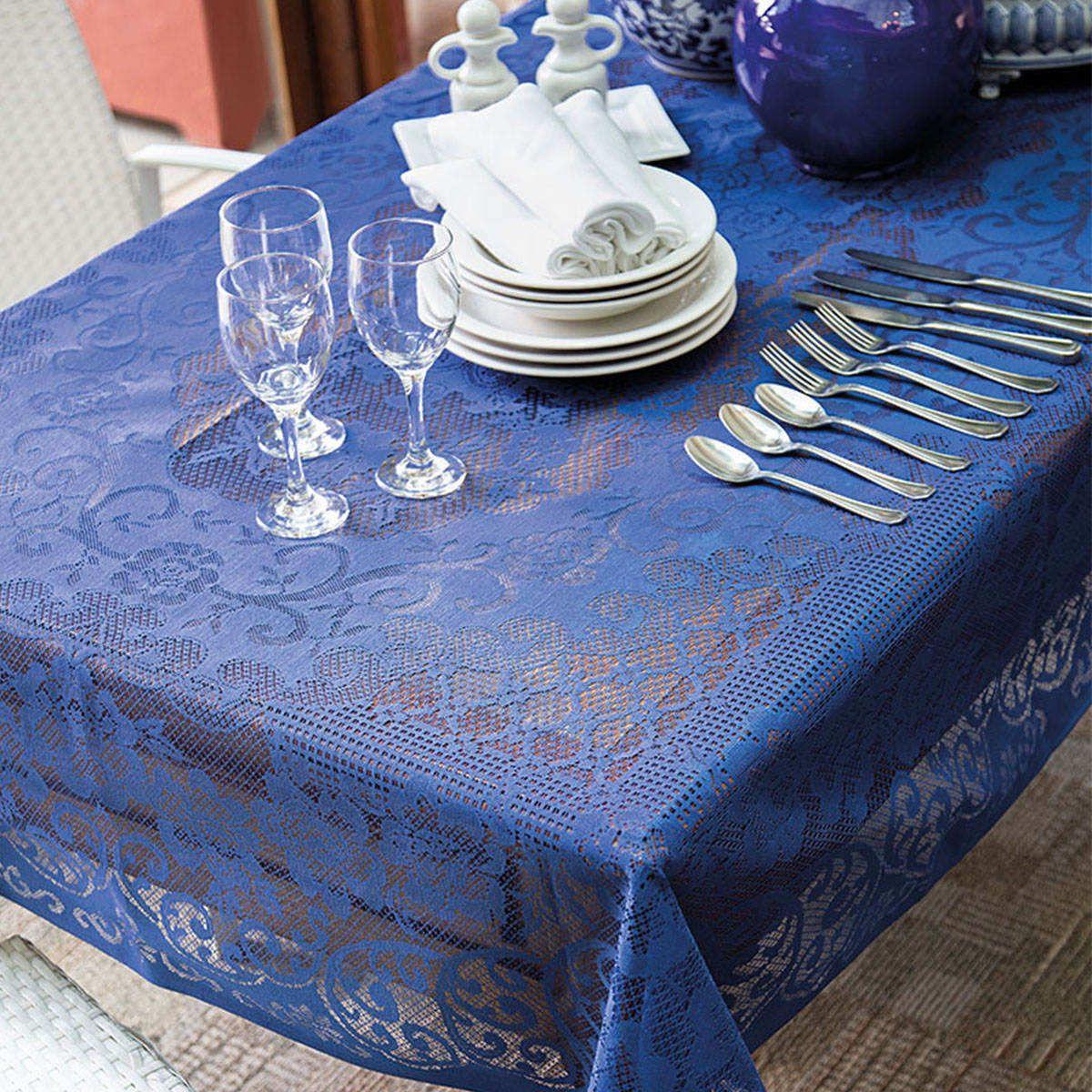 Toalha de Renda Retangular 8 lugares Rosas Azul Lepper