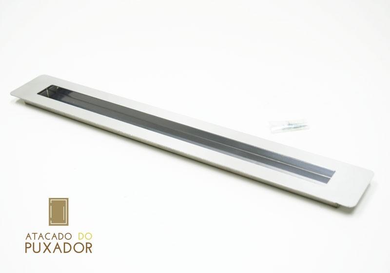 PUXADOR EMBUTIR CONCHA INOX PARA PORTA MADEIRA( 1 LADO ) Escovado.